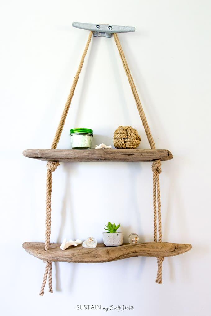 6.Simphome.com Rustic Hanging Rope Shelves