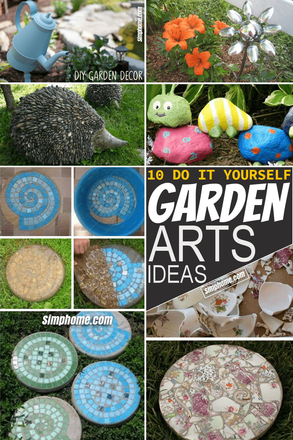 Simphome.com 10 DIY Garden Art Ideas Featured Pinterest Image
