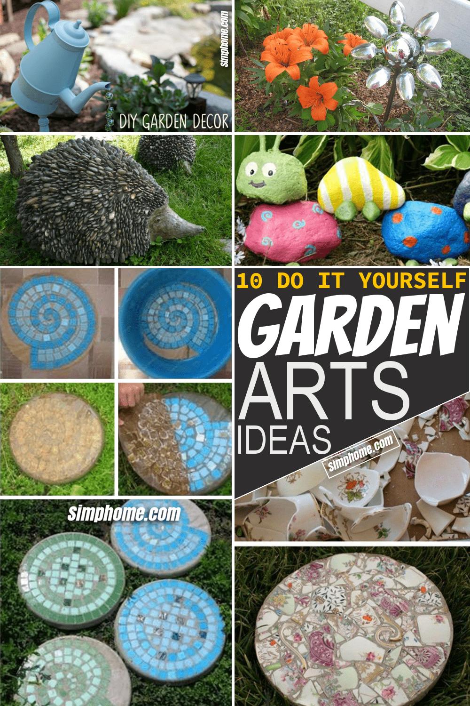 Simphome.com 10 DIY Garden Art Ideas Featured Pinterest Image