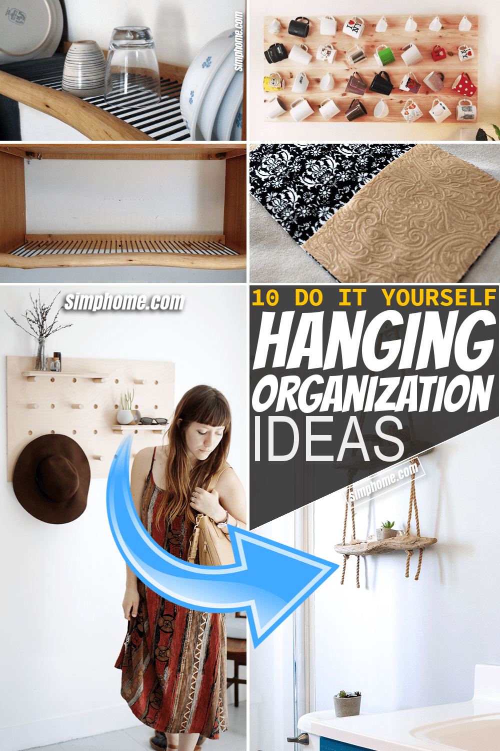 Simphome.com 10 DIY Hanging Organizer Ideas and Solutions Featured Pinterest Image