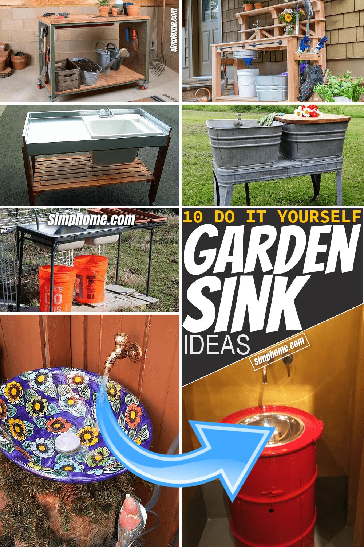 Simphome.com 10 Garden Sink Ideas and DIY Featured Image Pinterest
