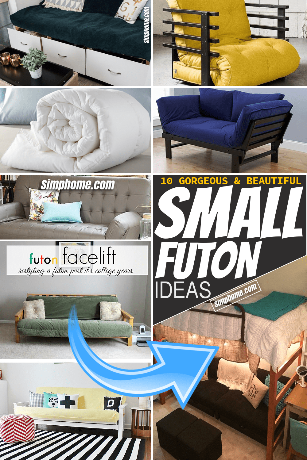 Simphome.com 10 Gorgeous Small Futon Ideas for Small Space or Bedroom Featured Pinterest Image