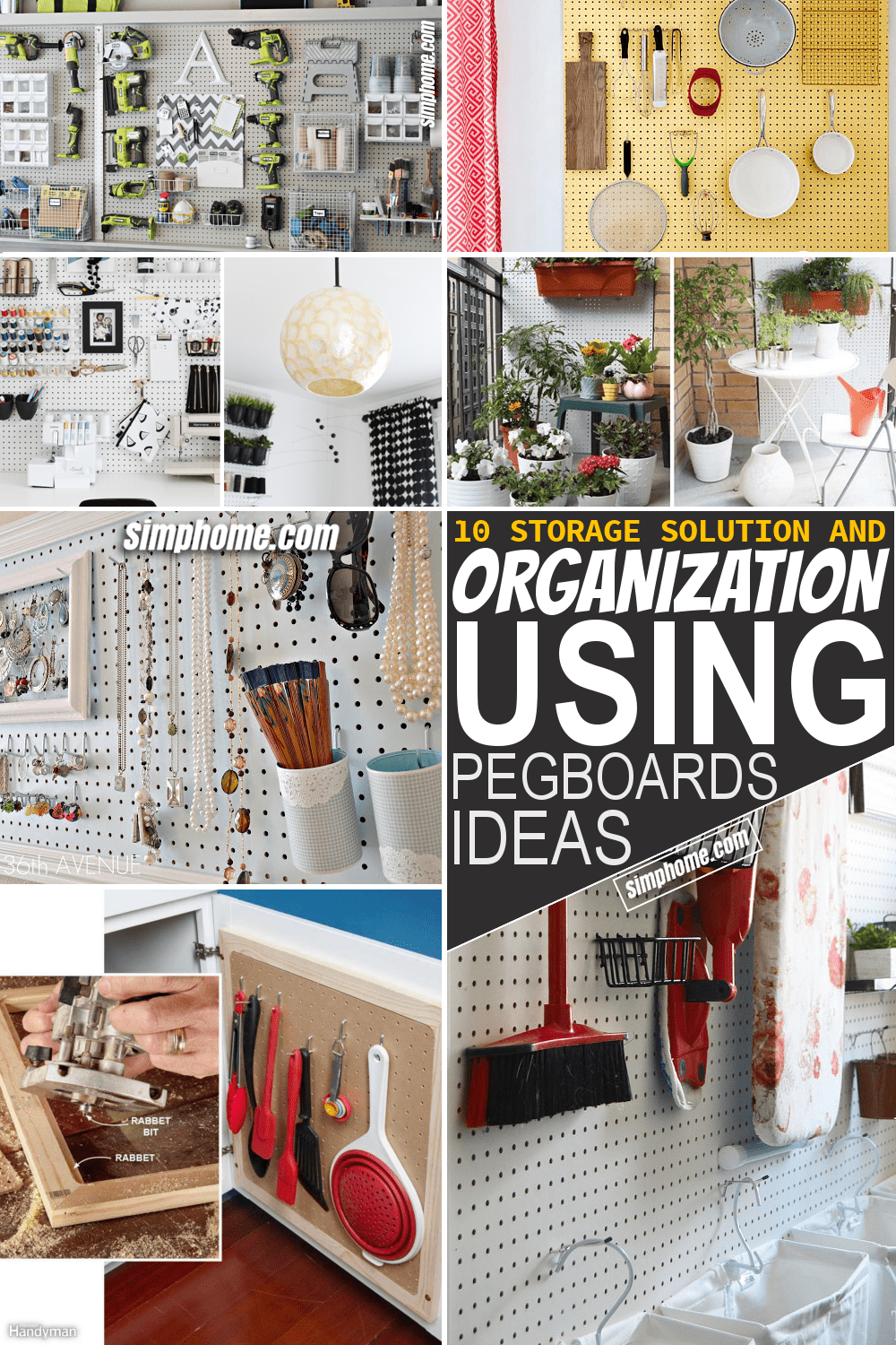 Simphome.com 10 Storage Solution and Organization Using Pegboard in Every Room Featured Pinterest