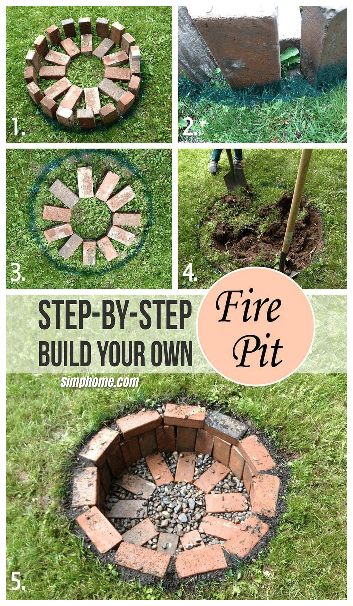 Simphome.com step by step building fire pit backyard ideas