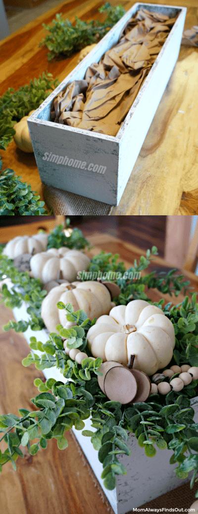 1.Simphome.com Wooden Box Centerpiece With Pumpkins And Eucalyptus