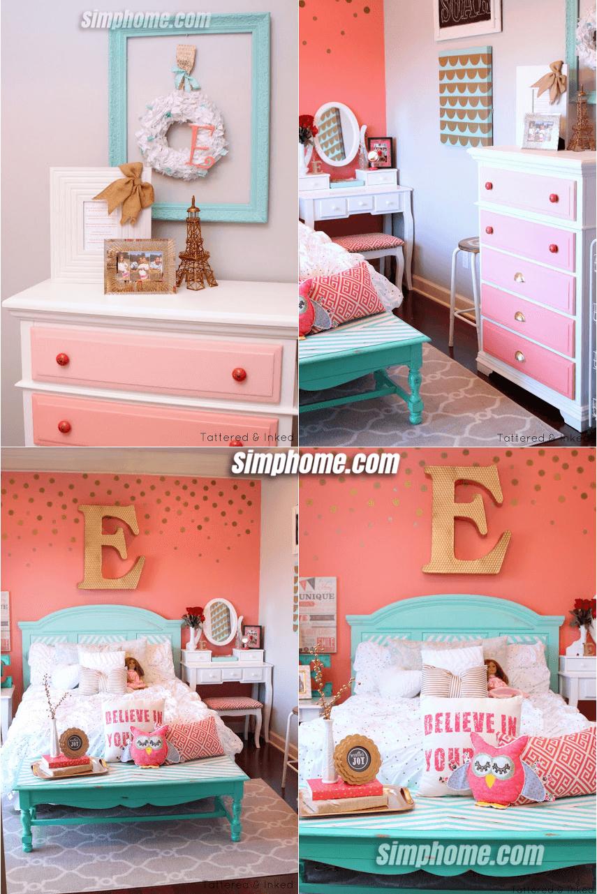 8.Simphome.com Aqua and Coral for a Girl Bedroom