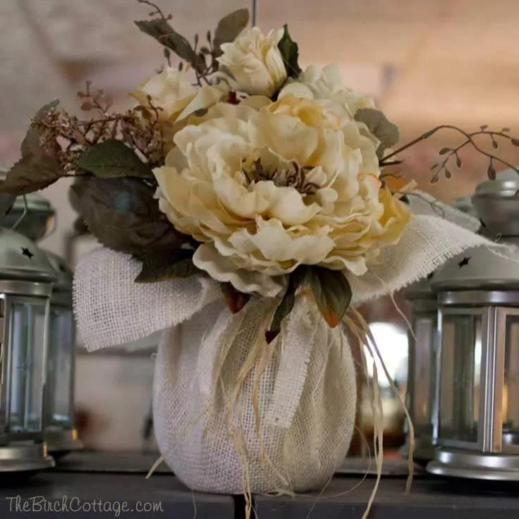 9.Simphome.com Burlap Floral Centerpiece