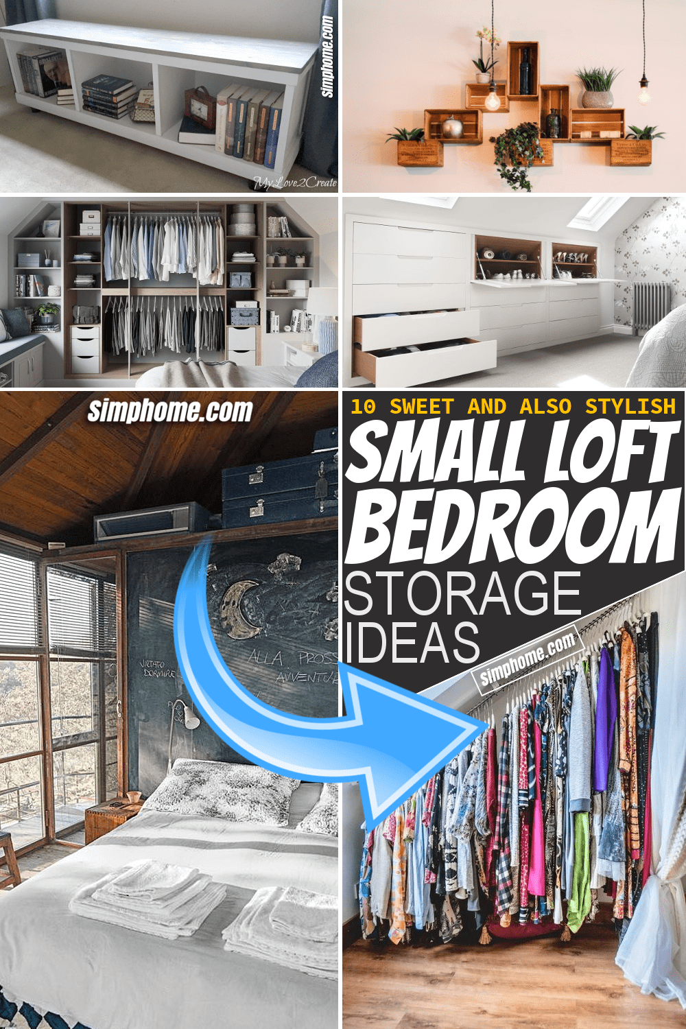 Simphome.com 10 Small Loft Bedroom Storage ideas Featured Image Pinterest