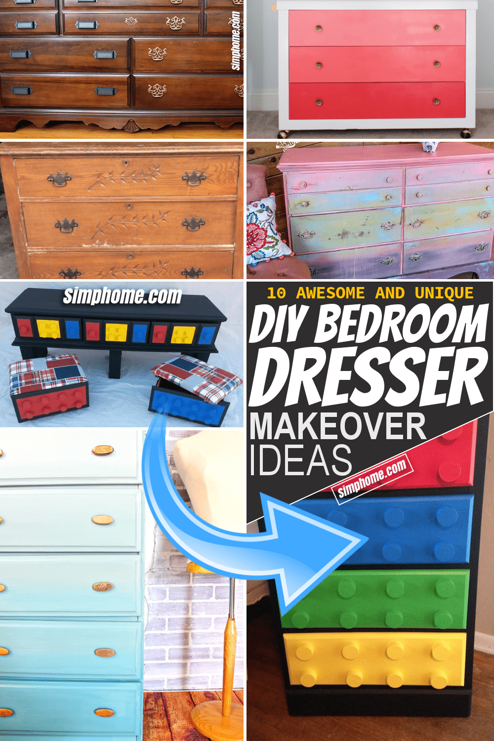 Simphome.com 10 Unique DIY Bedroom Dresser Makeover Featured Image Pinterest