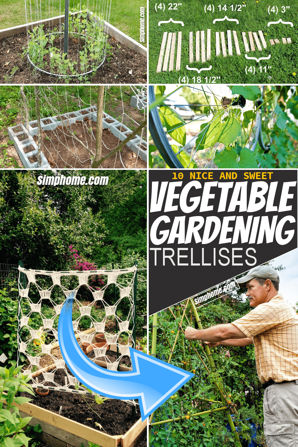 Simphome.com 10 vegetable garden trellis ideas Pinterest Long Featured
