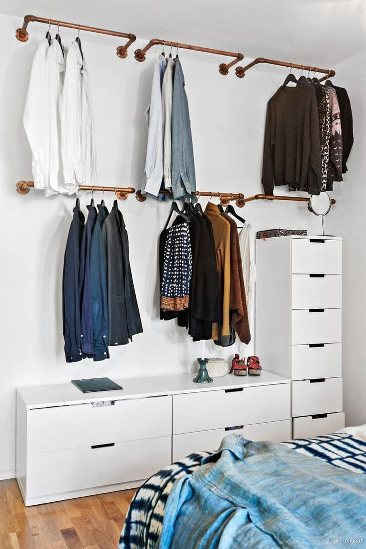 Simphome.com bedroom diy garment rack clever storage ideas for small bedrooms in 2020