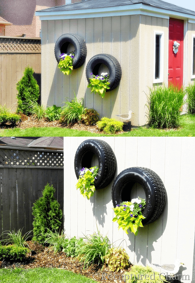 9.Simphome.com Hanging Tire Planter
