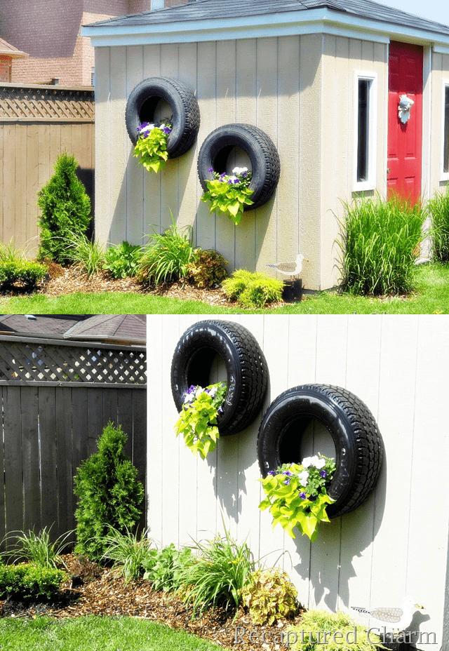 9.Simphome.com Hanging Tire Planter