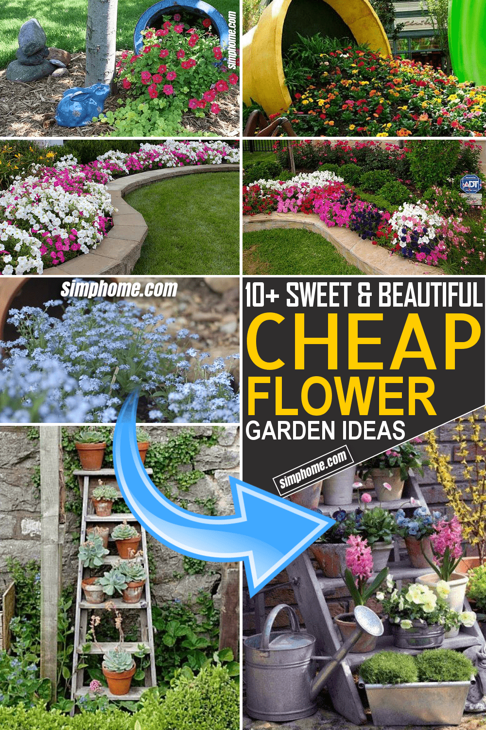 Simphome.com 10 Cheap Flower Garden Ideas Featured Image