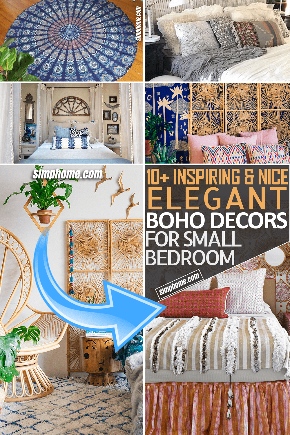 Simphome.com 10 Elegant Boho Bedroom Decor Ideas for a Small Bedroom Pinterest Featured Image