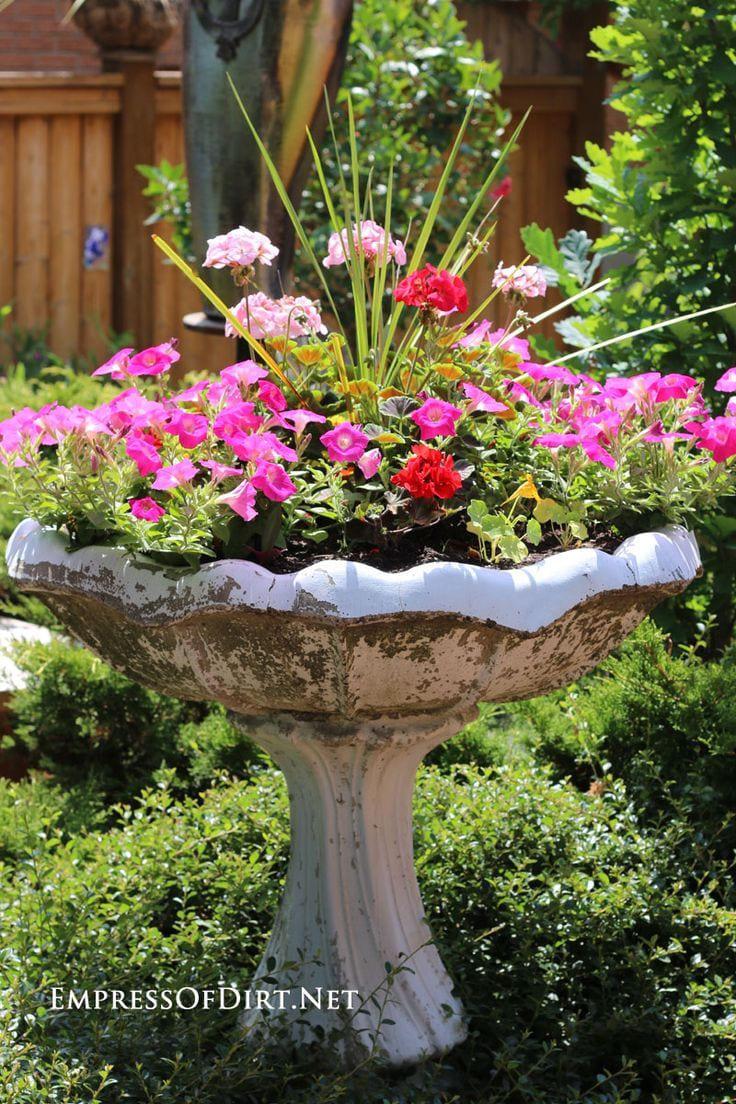 Simphome.com create a garden art birdbath planter container gardening in 2020 2021 2022