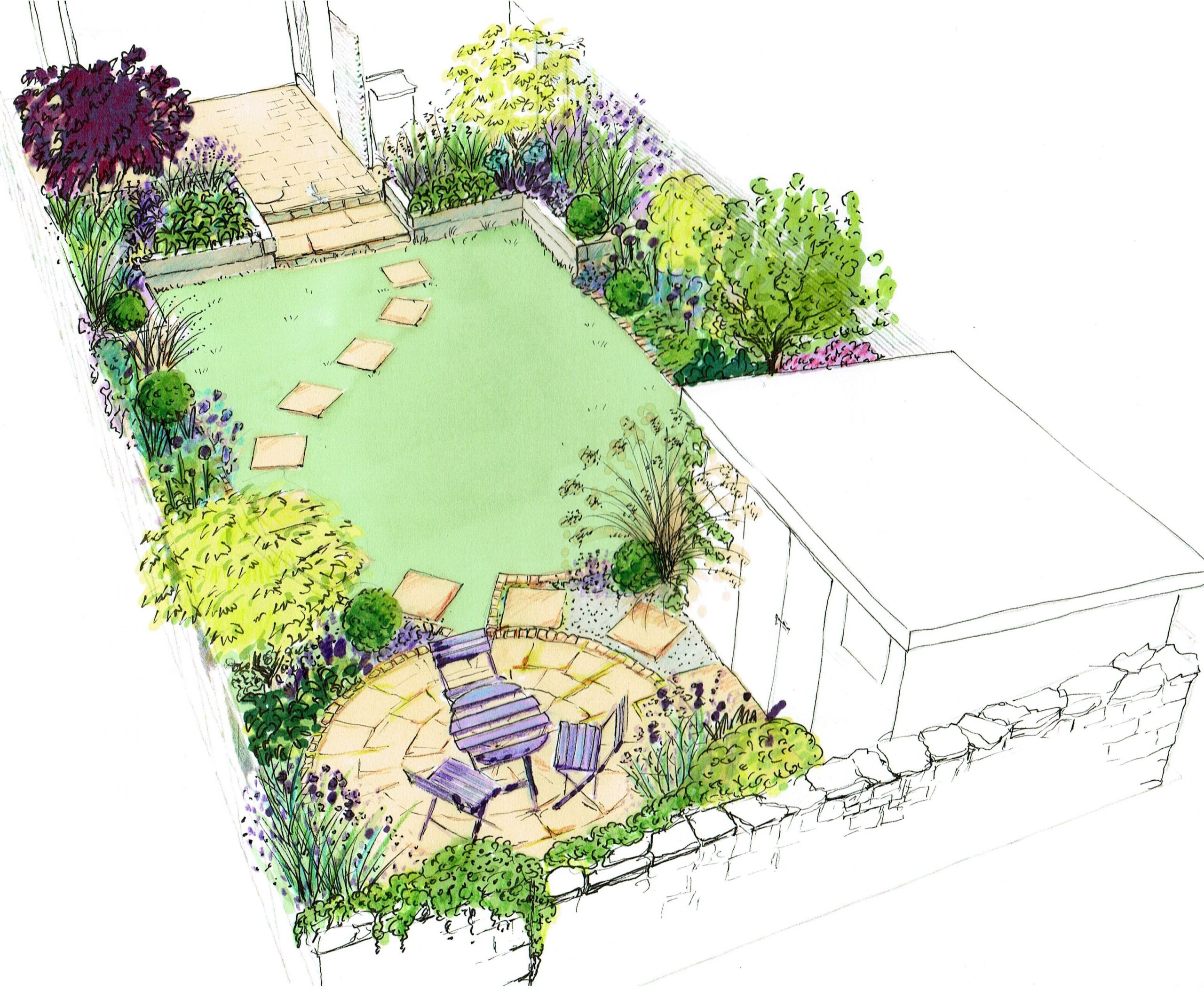 Simphome.com idea for a small back town garden a curving lawn with a circle in 2020 2021