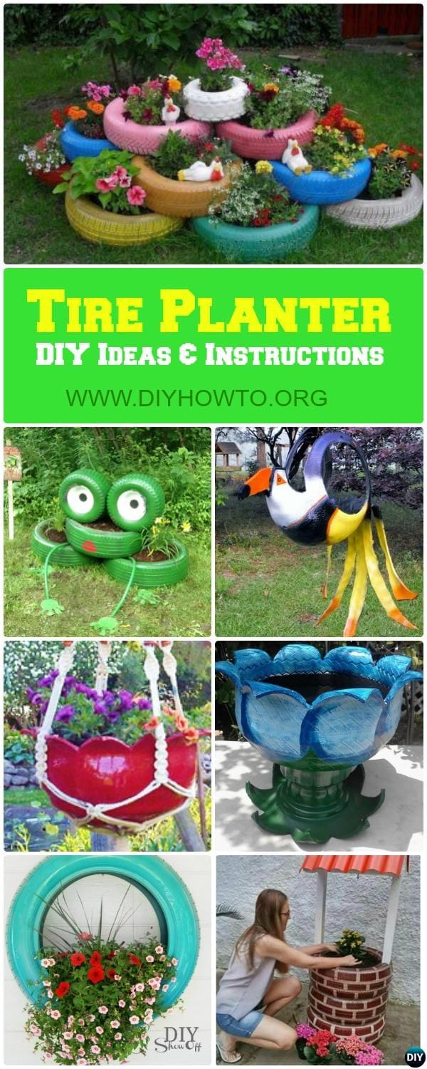 turn old tire into gardening planters and pots with these bright with regard to 10 recycle ideas for garden incredible as well as attractive