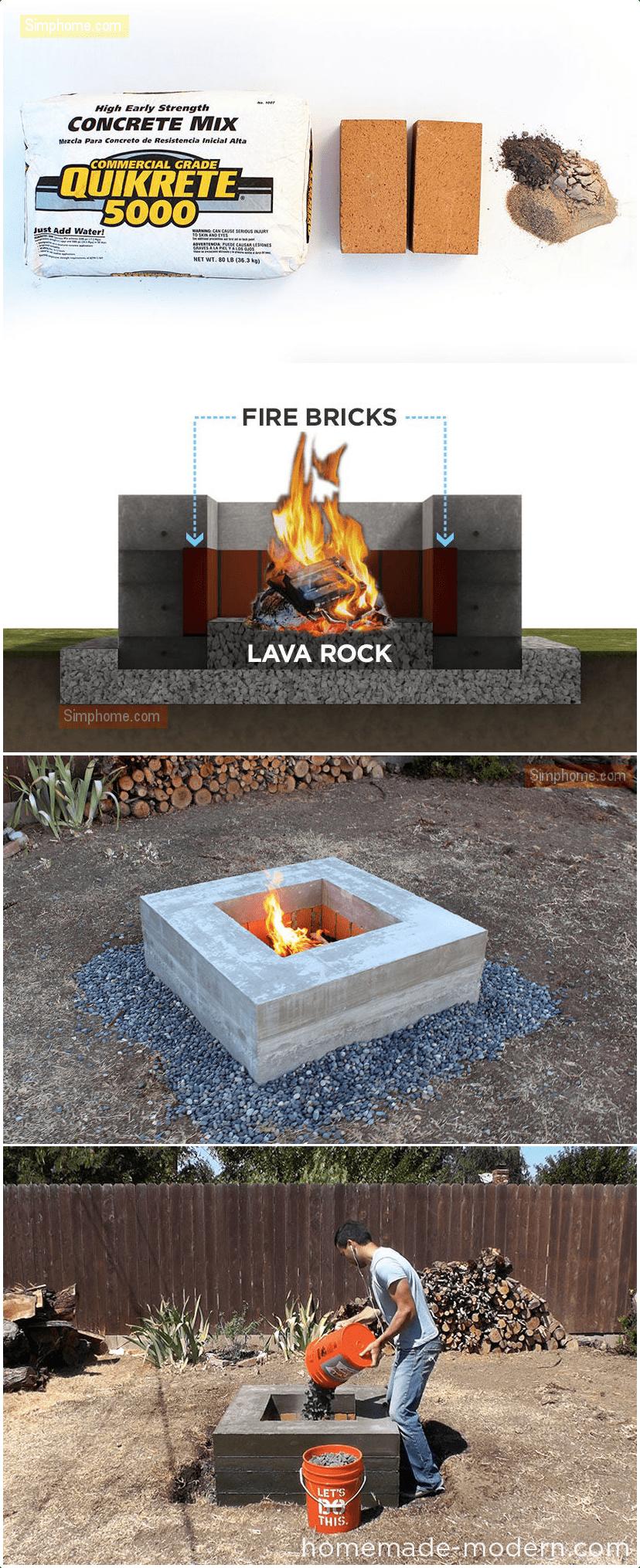 1.Modern Concrete Fire Pit via Simphome.com