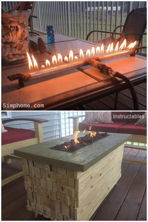 2.Fire Pit Coffee Table Combo via Simphome.com