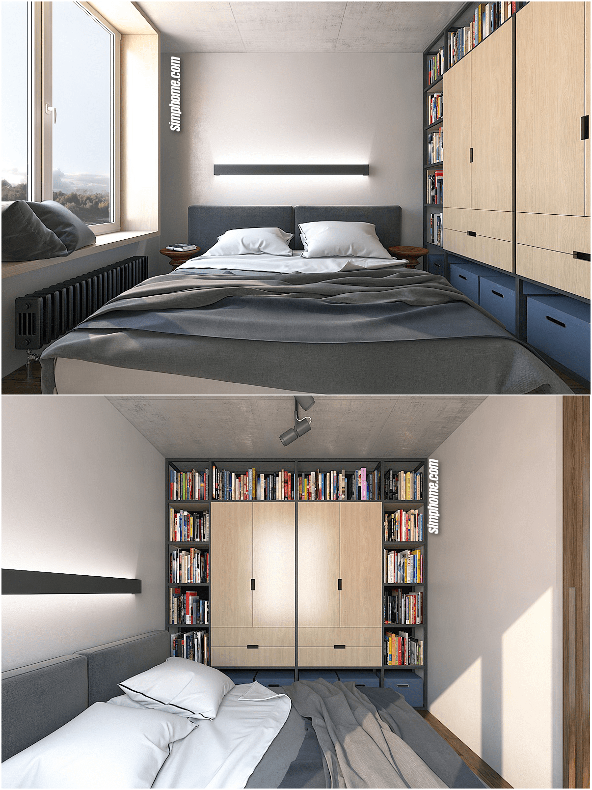 4.Simphome.com Think about a Built in Wardrobe and Bookshelves Combo