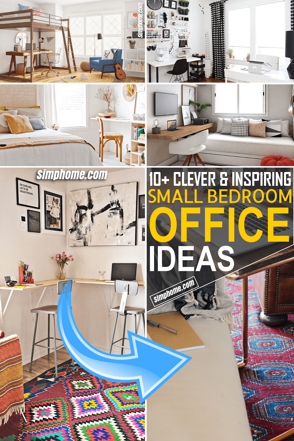 Simphome.com 10 Small Bedroom Office Ideas Featued Pinterest Image
