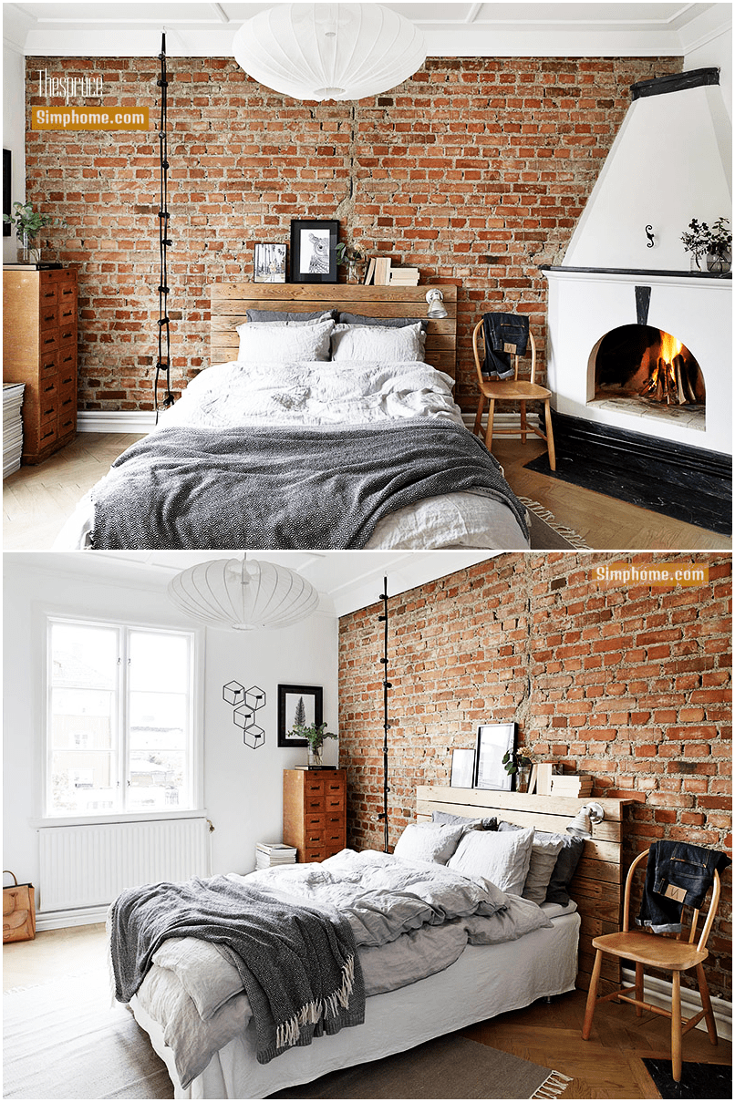 2.Exposed Brick Accent Wall Idea by Simphome.com