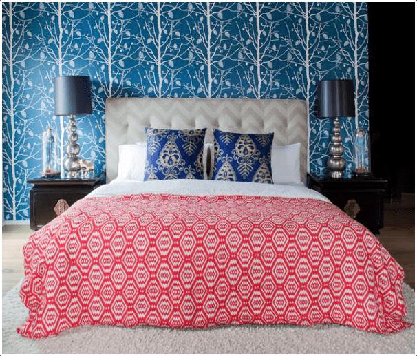 8.Bedroom Accent Wallpaper Project idea via Simphome.com