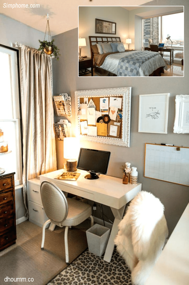 8.How to Arrange a Small Bedroom with Work Station by Simphome.com