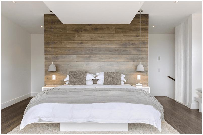 9.Bedroom Accent Wall Wood via Simphome.com