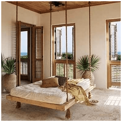 9.DIY Hanging Bed via Simphome.com