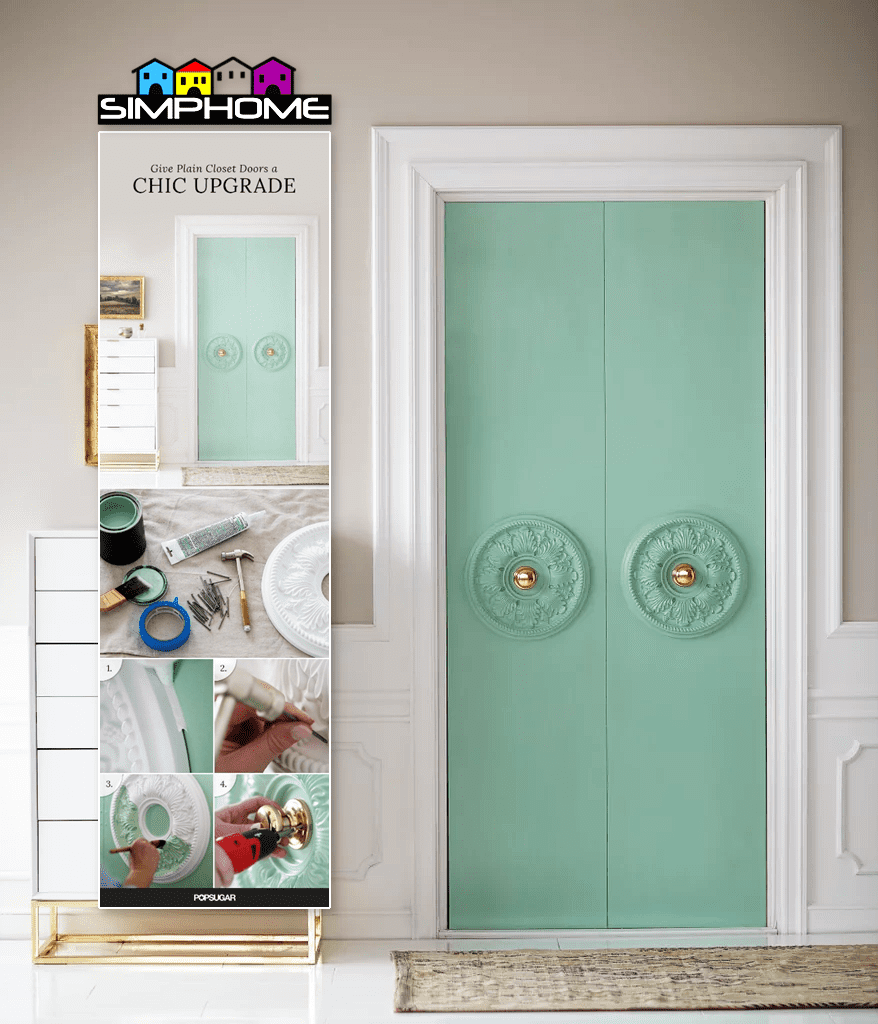 1.Closet Door with Medallion Project Idea via Simphome.com