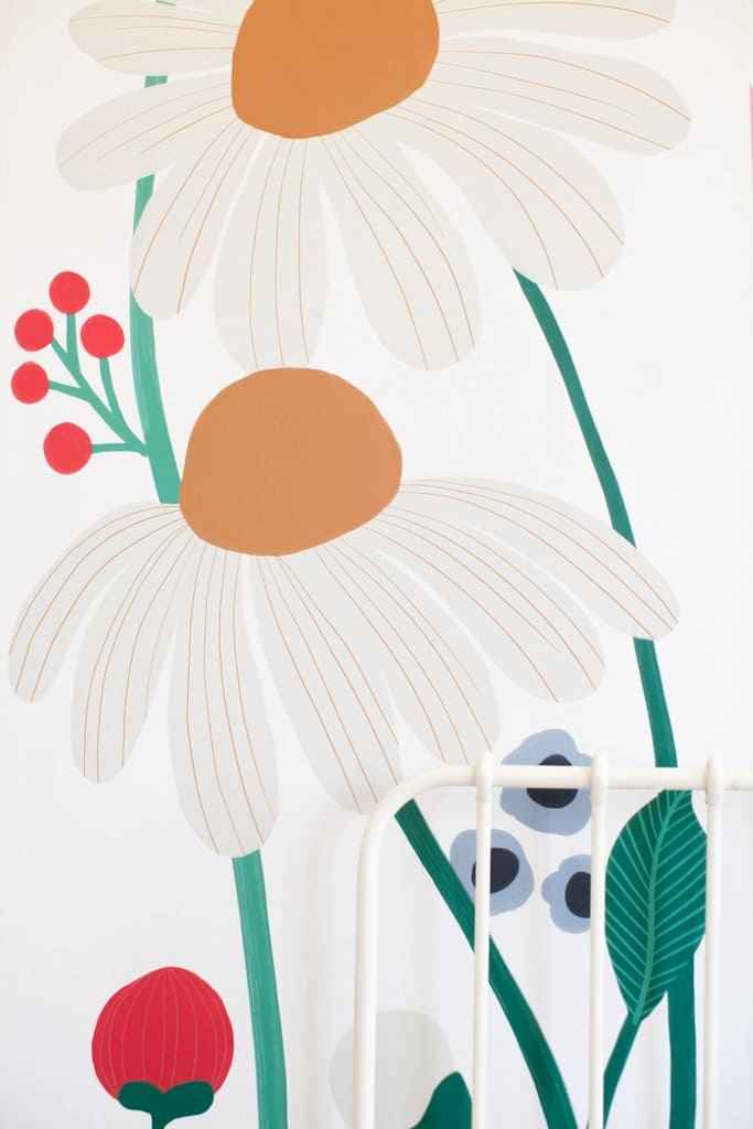 1.Floral Removable Wallpaper Mural Zoom via Simphome.com