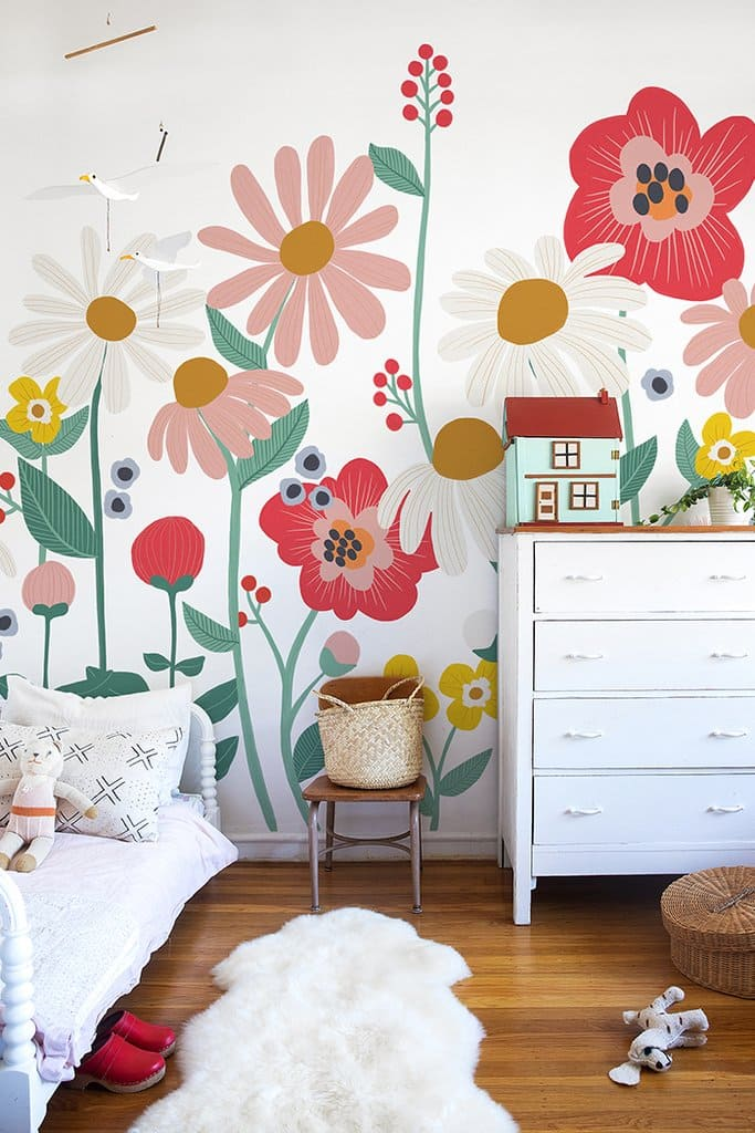 1.Floral Removable Wallpaper Mural via Simphome.com