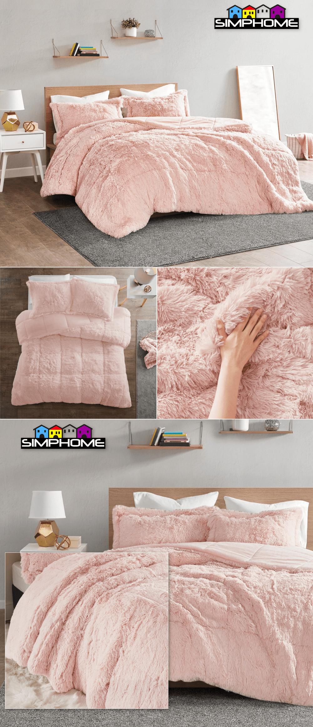1.Soft Faux Fur Comforter idea via simphome.com