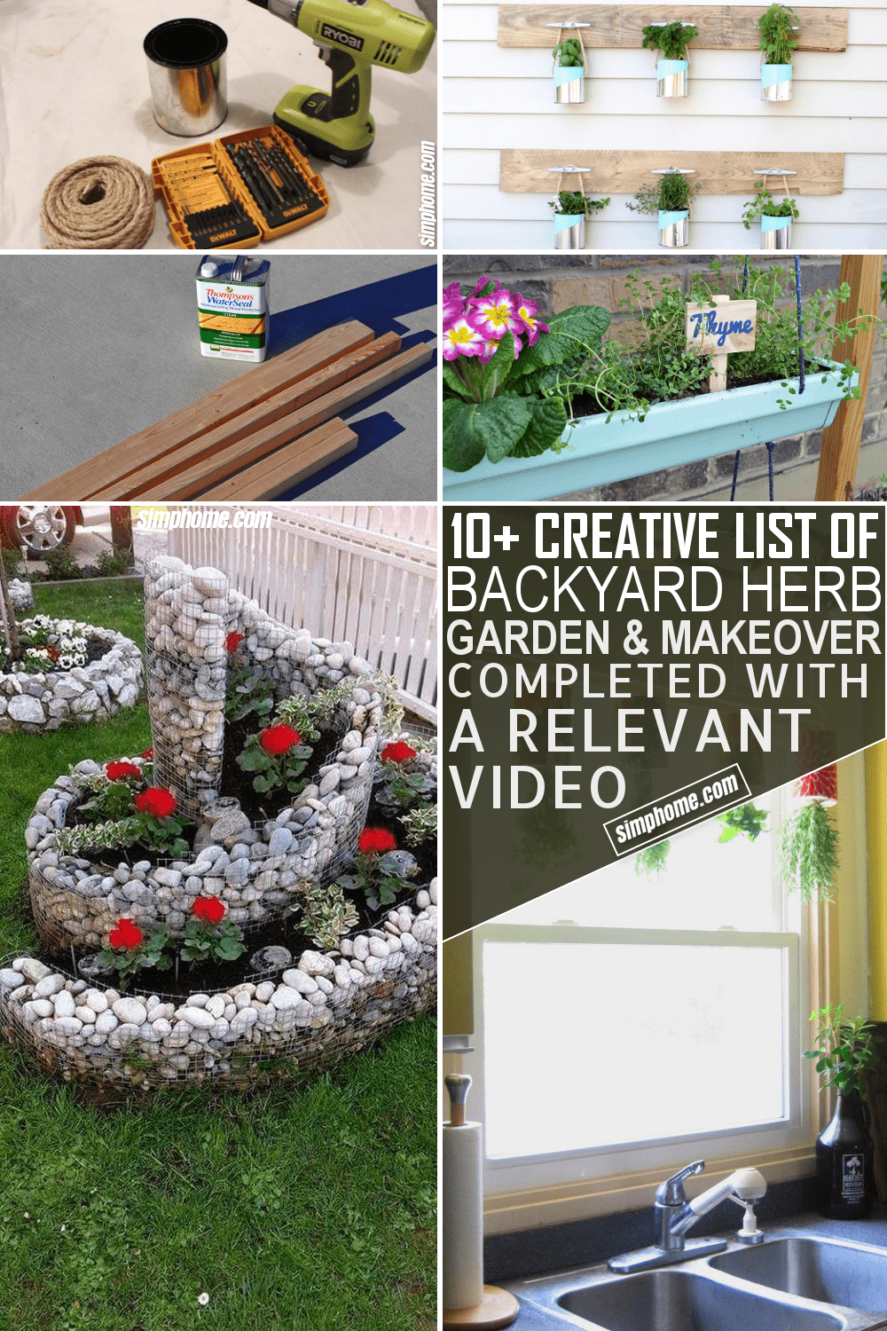 10 Backyard Herb Garden Ideas via Simphome.com Featured Image