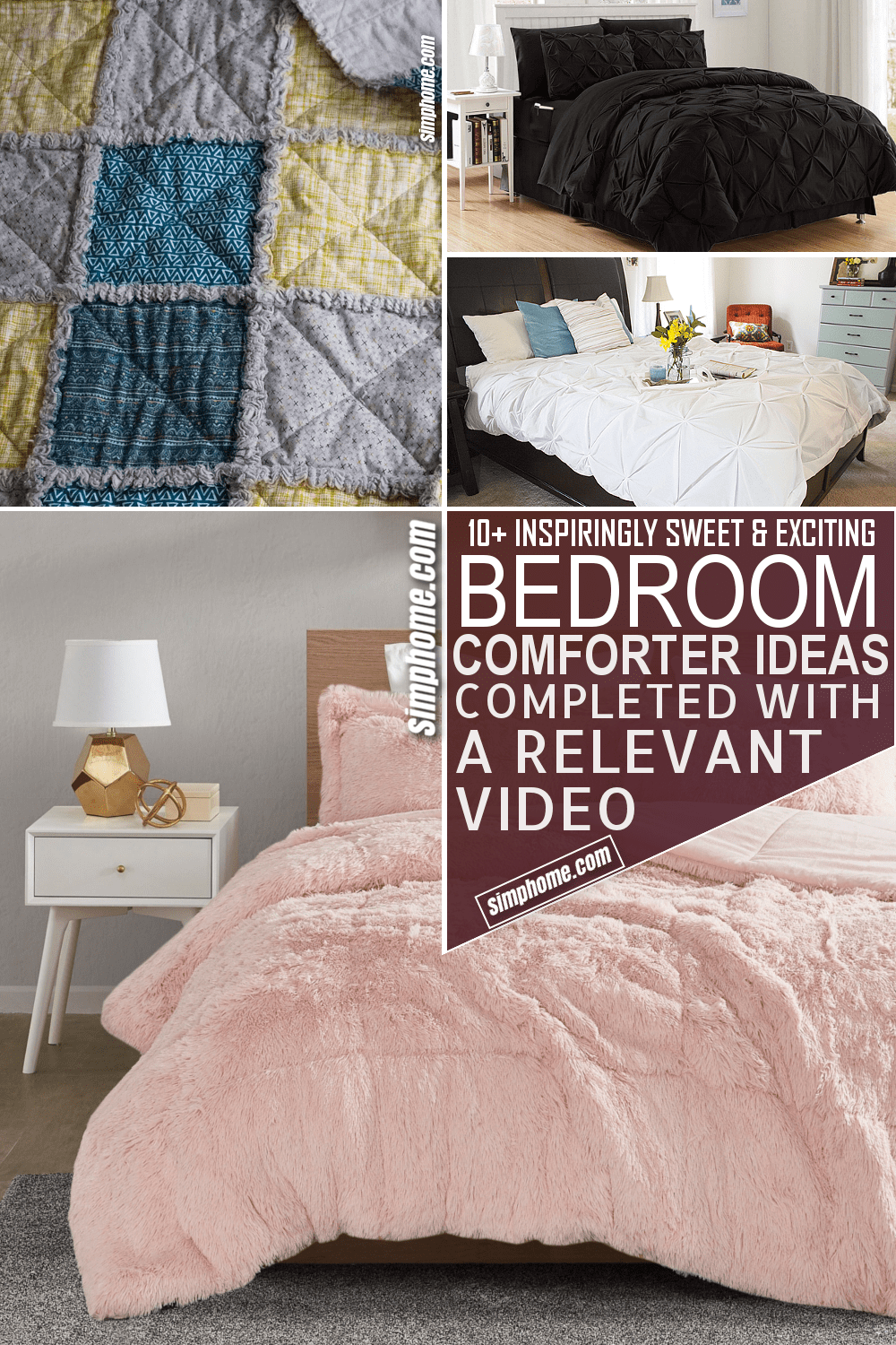 10 Bedroom Comforter Ideas via Simphome.com Pinterest Featured Image
