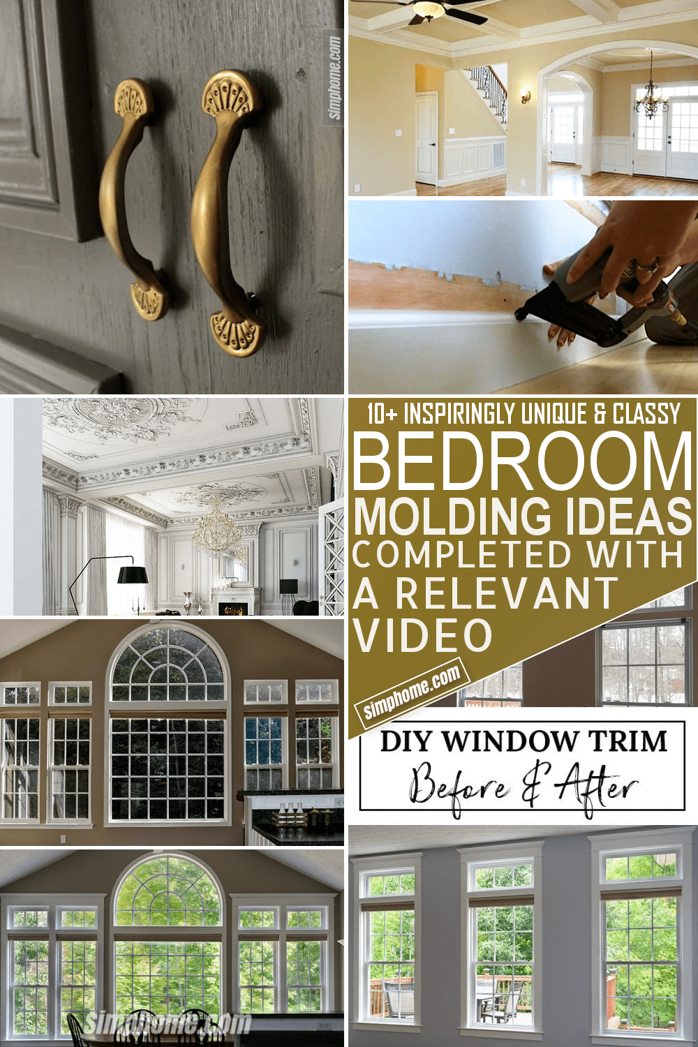 10 Bedroom Molding Ideas via Simphome Featured Pinterest