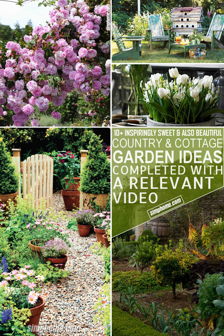 10 Country and Cottage Garden Decor Ideas via Simphome Pinterest Featured Image