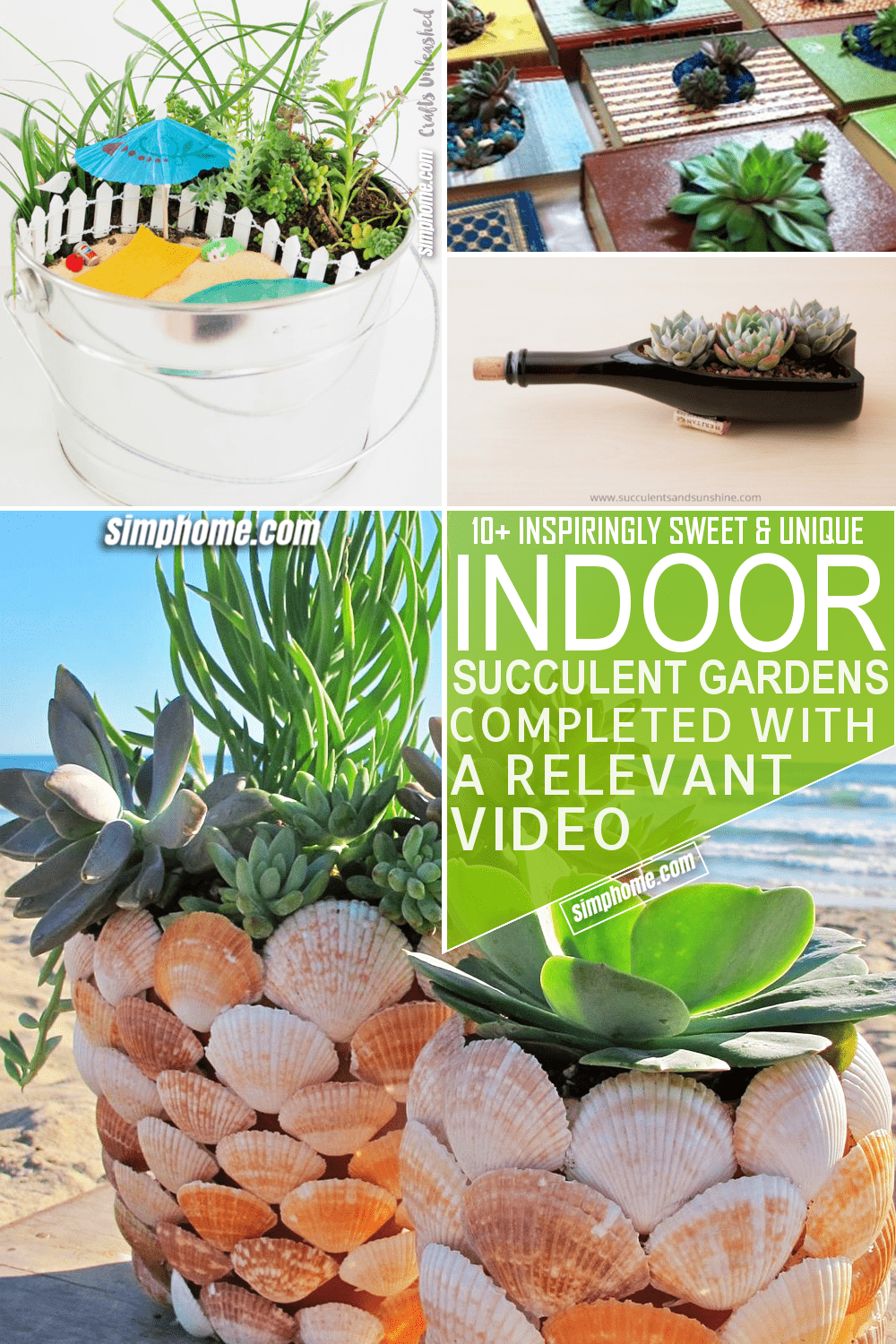 10 Indoor Succulent Garden Ideas via Simphome.com Featured Pinterest