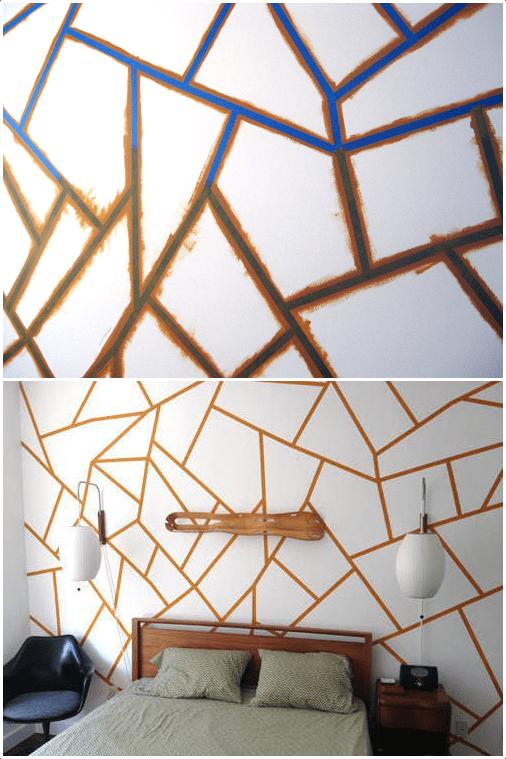 2.DIY Tape Mural Bedroom Idea by Simphome.com