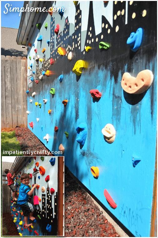 5.DIY Backyard Climbing Wall by Simphome.com