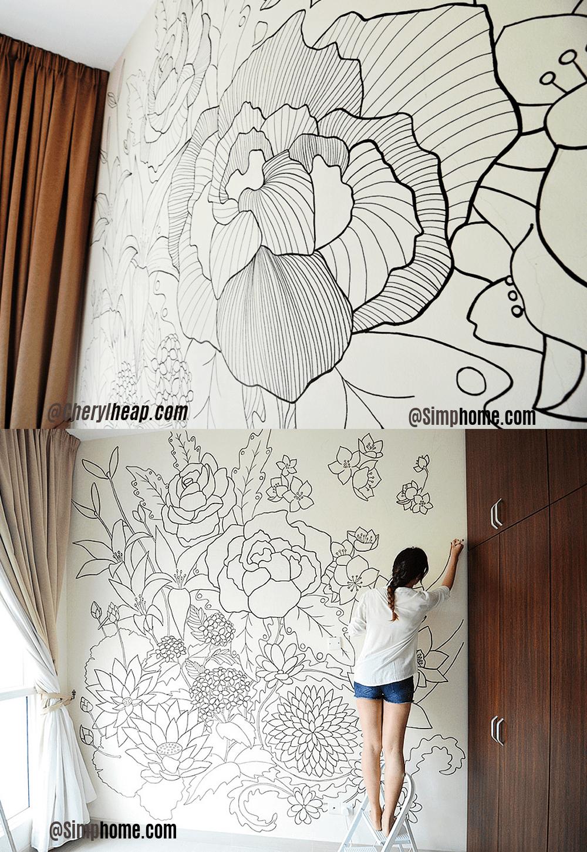 5.DIY Floral Pattern Bedroom Mural Idea via Simphome.com