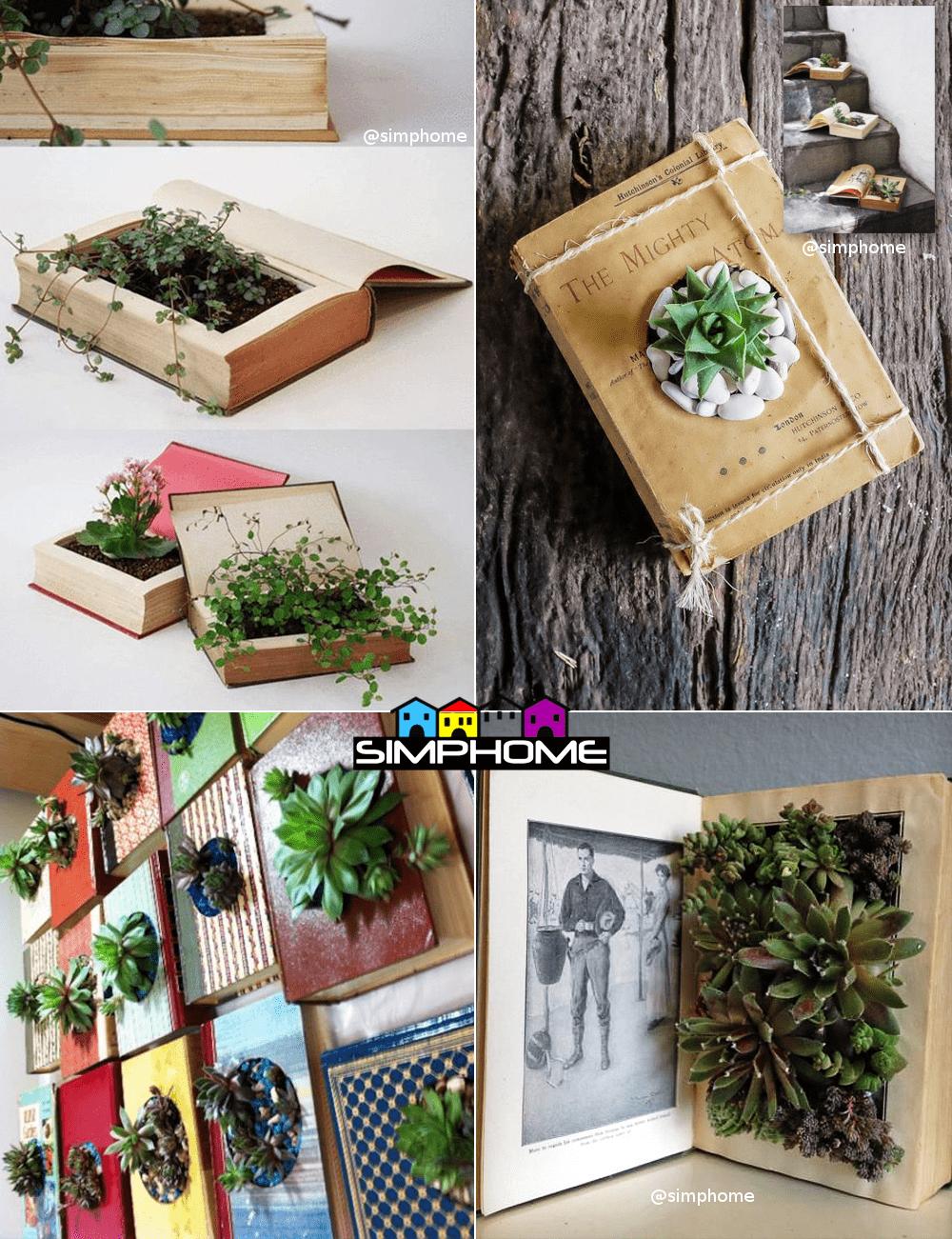 6.Succulent in an Old Book Project Idea via Simphome.com