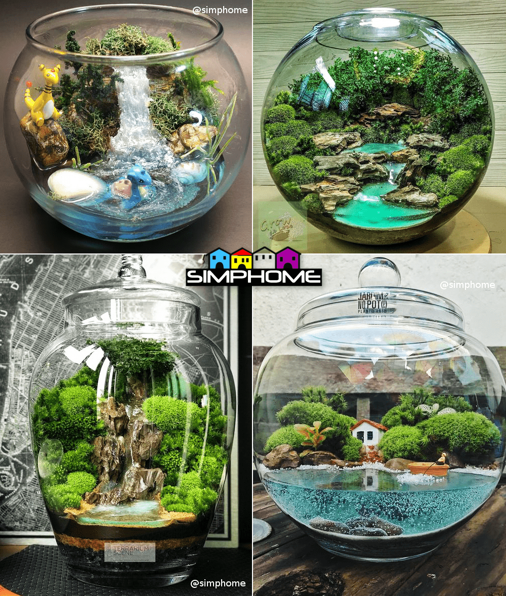 7.Succulent garden with Faux Waterfall via Simphome.com