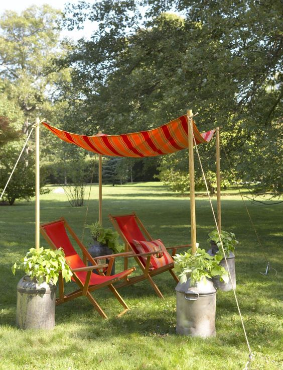 1.Add a Low cost Backyard Seating with tent via simphome.com