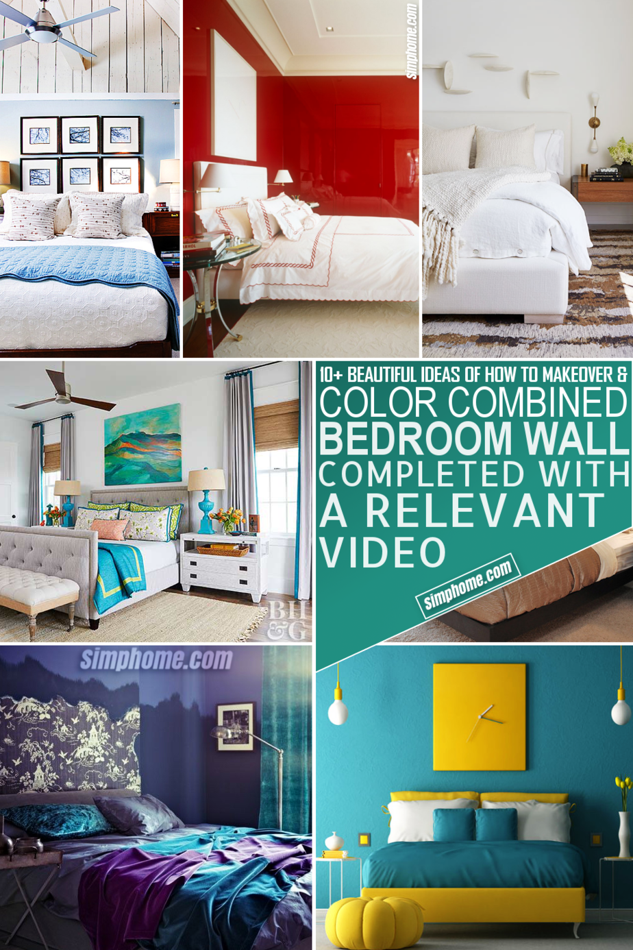 10 Bedroom color combination Ideas via Simphome.com Featured Image