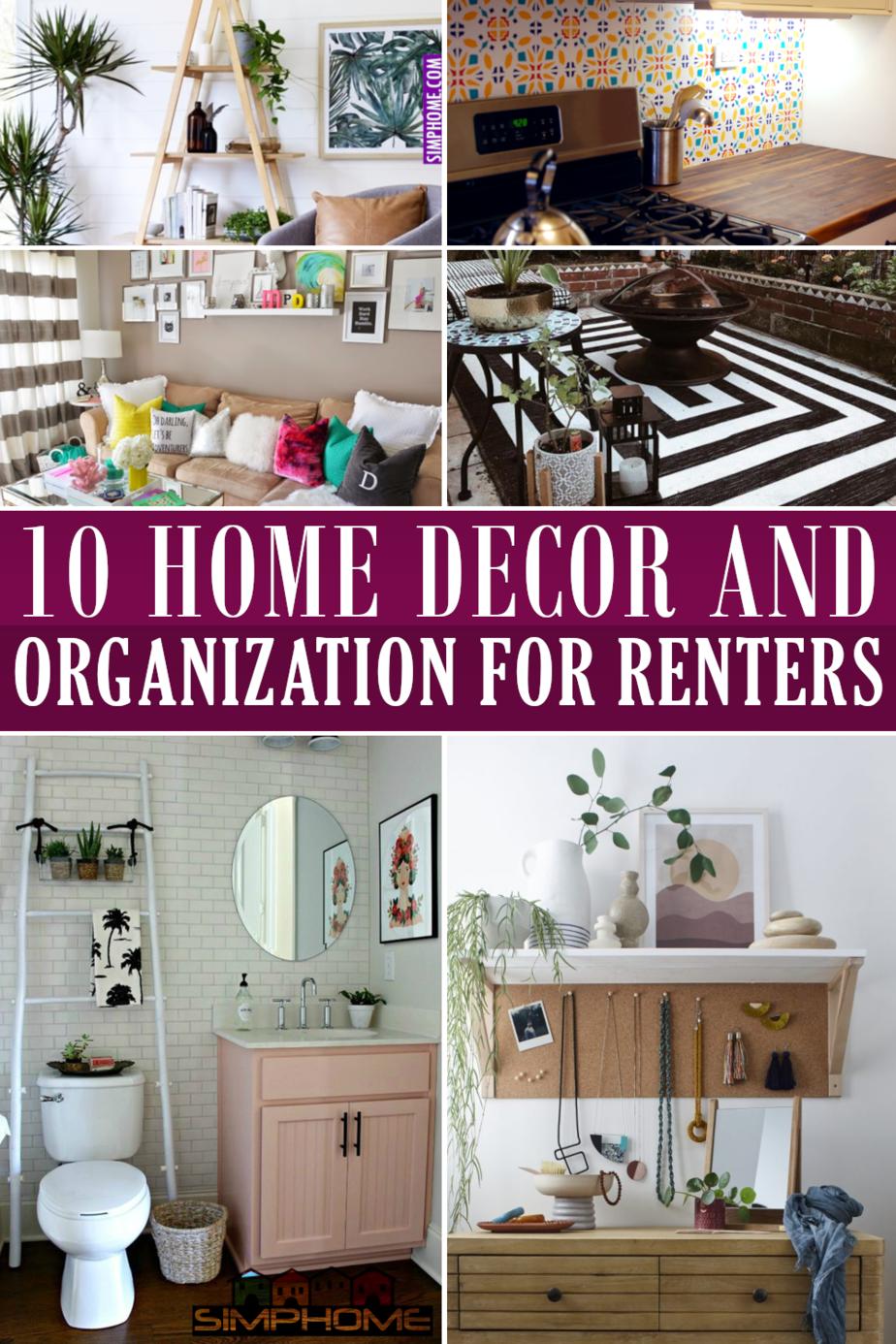 10 Home Decor Ideas and Organization Hacks for Renters Featured Image via Simphome.com