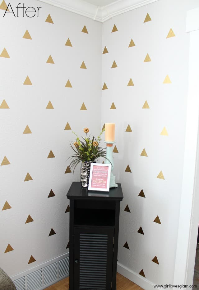 11.GOLD GEOMETRIC TRIANGLE WALL ART PROJECT IDEA via Simphome.com