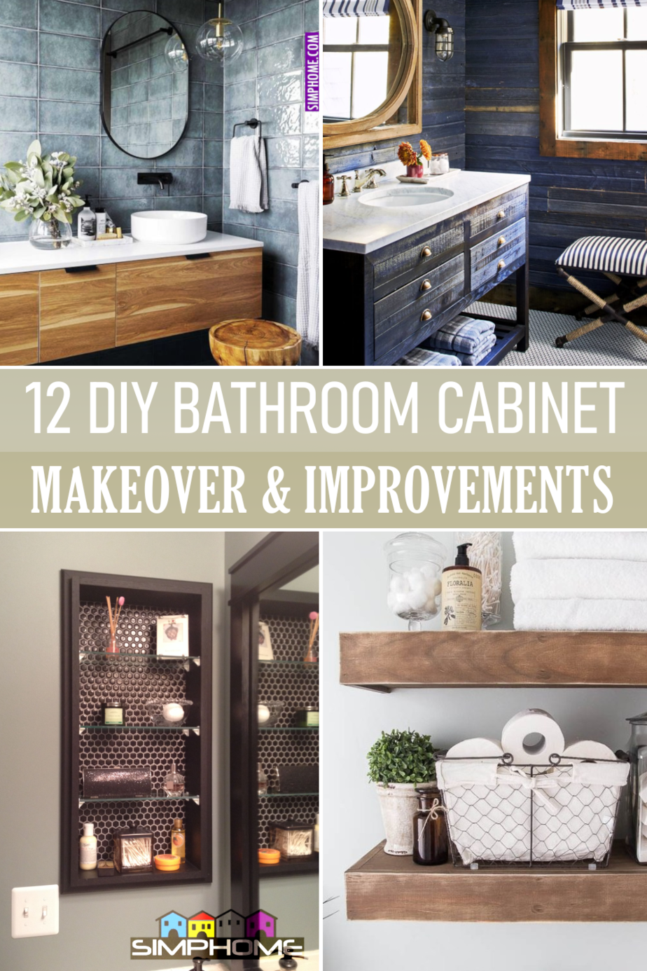 12 Bathroom Cabinet Makeovers via Simphome.comFeatured Image
